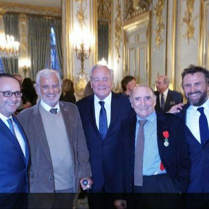 Christian Cambon - Claude Brasseur - Jean-Paul Belmondo - François Hollande - Alexandre Brasseur