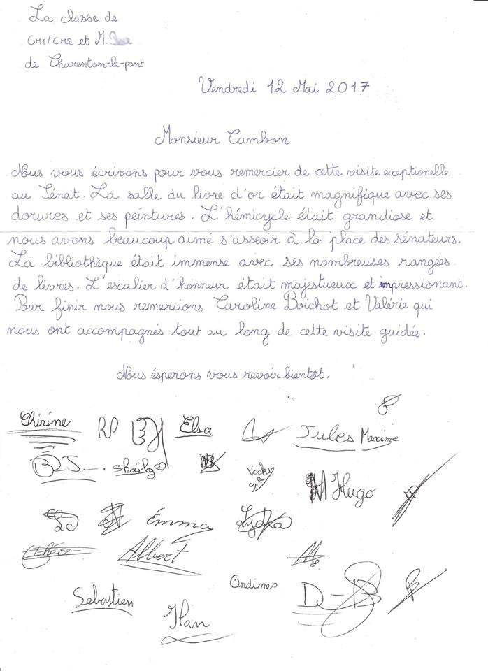 Christian Cambon - lettre enfants charenton