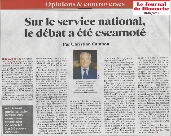 Article JDD - Christian Cambon - service national