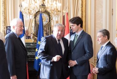 Christian Cambon - Gerard Larcher - Justin Trudeau PM Canadien