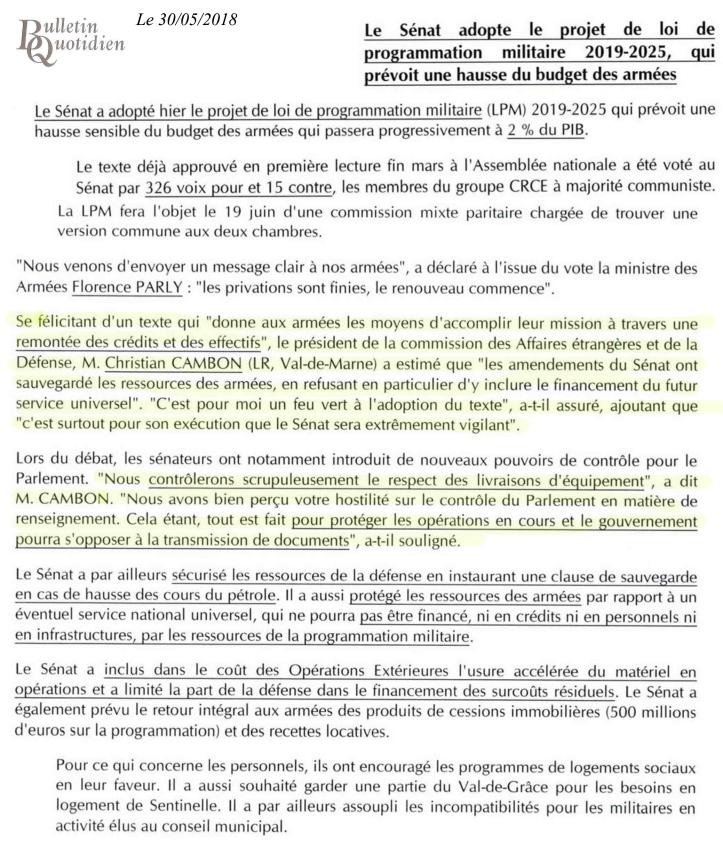 Christian Cambon - Bulletin Quoditien - LPM - 30-05-2018