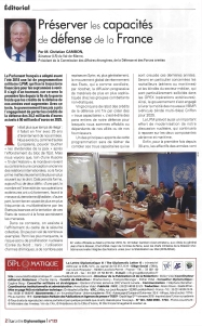 La Lettre Diplomatique - nov 2018 - Christian Cambon