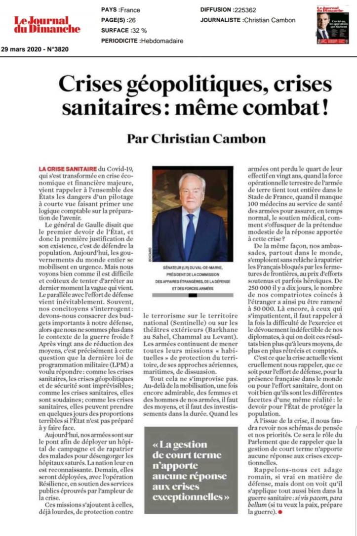 Christian Cambon - Tribune JDD